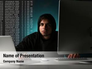 Computer hacker working
