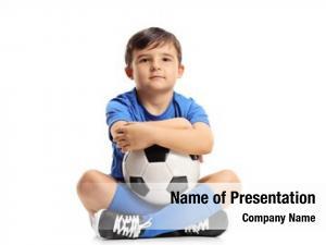 Footballer little footballer sitting