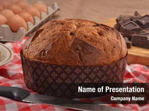 Ingredients panettone bread rustic wood