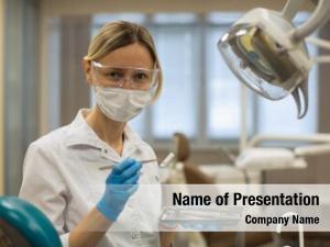 Medical woman dentist mask tools