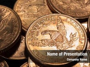 Golden american dollars coins