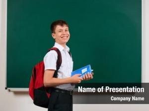Boy portrait school posing backpack