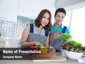 Couples young happy domestic kitchen