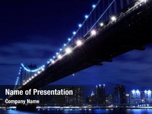 Manhattan manhattan bridge skyline night,