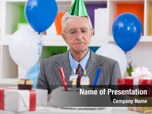 Looking senior man his birthday