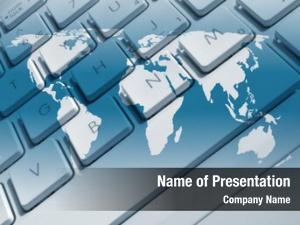 Keyboard closeup laptop overlaid world