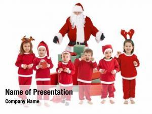 Happy santa claus little children
