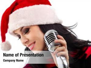 Standing christmas singer front microphone