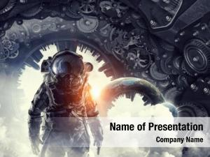 Astronaut in fantasy powerpoint template