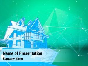 Green modern house surrounded digital