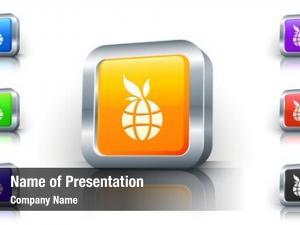Icon environmental globe button metallic