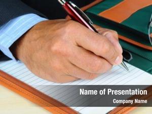 Writing closeup businessman notebook