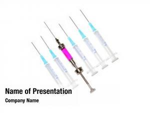 Syringes six various row white