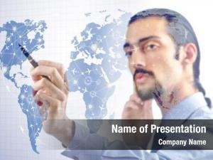 Businessman in air powerpoint template