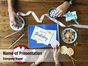 Card birthday wish wooden table