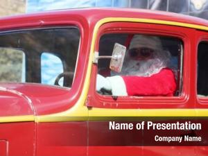Hot rod car smiles santa claus