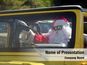 Classic car smiles santa claus