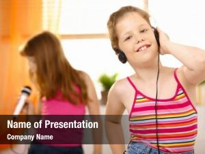 Girl young happy listening music