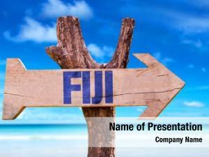 Sign fiji wooden beach