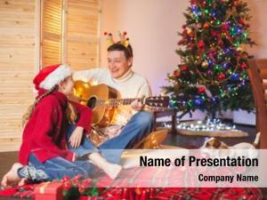 Playing child dad guitar singing
