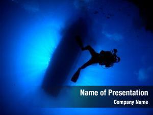 Silhouette boat scuba diving