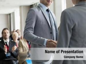 Greeting confident businessman public speaker