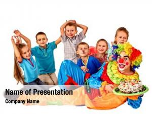 Cake clown holding birthday group