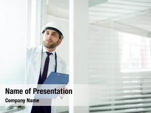 Foreman in helmet powerpoint template