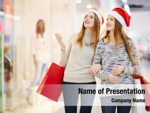 Women two beautiful shopping shopping