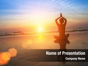 Yoga woman practicing seashore during