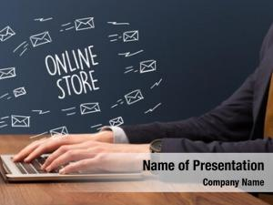 Laptop businessman working online store