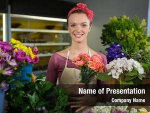 Florist portrait female holding bunch