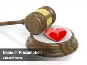 Red wooden gavel heart symbol,