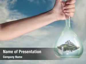 Glass mountain inside bottle