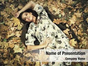 Woman beautiful young lying autumn
