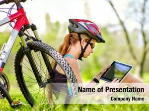 Bicycle girl wearing helmet sitting