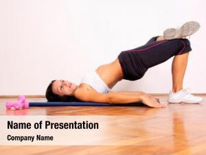 Doing gym woman stretching exercise