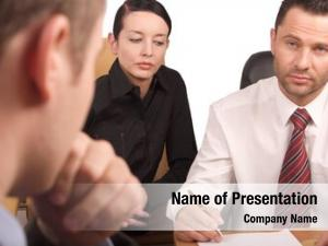 Meeting interview, business three persons