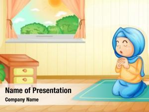 Girl illustration muslim praying