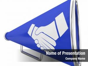 Megaphone handshake bullhorn deal announcement