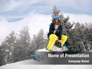 Snowboarding smiling girl snowboarder