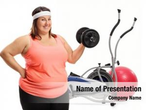 Cross trainer overweight woman holding