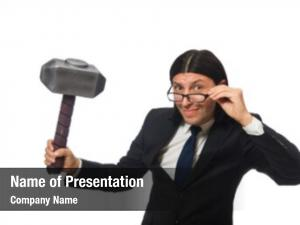 Holding handsome businessman hammer case