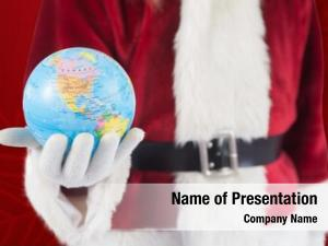 Globe santa has his hand