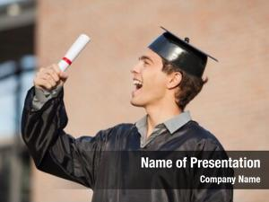Student excited male holding diploma