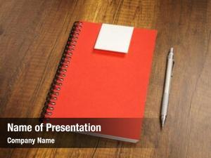 Pencil note book wooden desk