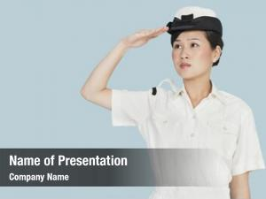 Navy beautiful young officer saluting