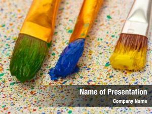 Paint brushes colorful colorful splashes