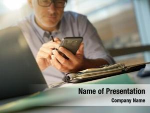 Using businessman office smartphone