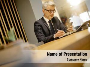 Businessman in restaurant powerpoint background